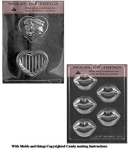 Valentines Day chocolate candy mold BUNNY ON HEART POUR BOX Chocolate Candy mold & Lips Cookie Chocolate Candy Mold With Copywrited Candy Making Instruction