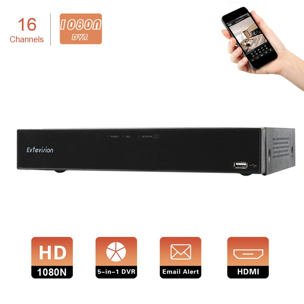 Evtevision 16CH 1080N AHD DVR Hybrid AHD+HVR+TVI+CVI+NVR 5-in-1 Security System Realtime Standalone CCTV Surveillance Onvif P2P QR Code Scan w/Easy Remote Smartphone View HDMI/VGA Output (NO HDD) by Evtevision