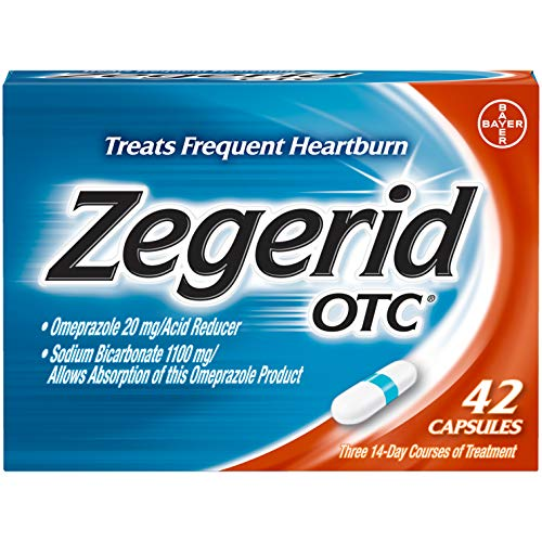 Zegerid OTC Heartburn Relief, 24 Hour Stomach Acid Reducer Proton Pump Inhibitor With Omeprazole and Sodium Bicarbonate, Capsules, 42 Count (Best Time Of Day To Take Nexium Tablets)
