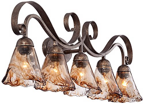 Amber Scroll 37 1/4'' Wide Art Glass and Bronze Bath Light by Franklin Iron Works (Image #5)