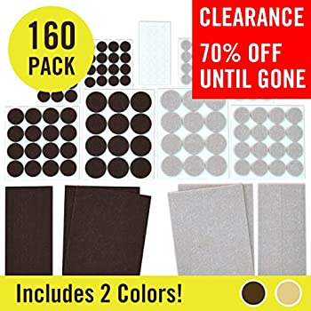 Felt Pads (160 Variety Pack, Multi-Color) Heavy Duty Adhesive Furniture Pads, Floor Protectors for Hard Surfaces, Tile Floor Protection, Wood Floor Protection