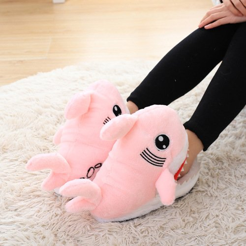 unisex Indoor Pink Ginkago Slipper Shark Warm Furry Soft Womens Home Bottom Shoes Winter w4TqXTS