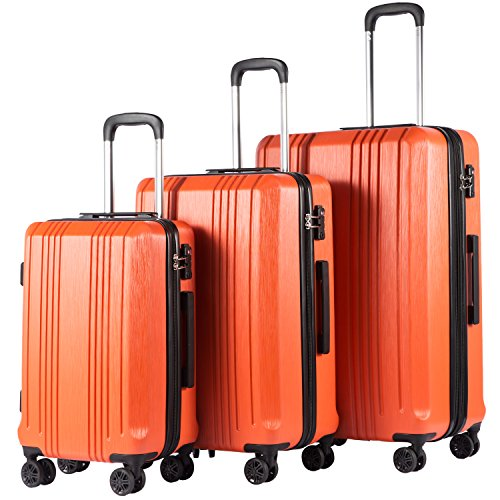 Coolife Luggage Expandable Suitcase PC+ABS 3 Piece Set with TSA Lock Spinner 20in24in28in ()