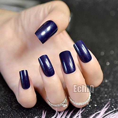 Galaxy Pattern Glitter Press On Nails Navy Blue Dark Acrylic Nail Art Tips Beautiful Shape Rare Design Z717