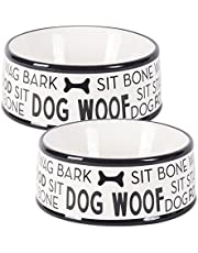 """DII Bone Dry Ceramic Medium Pet Bowls For Food & Water, 6.25"""" (Dia) x2.5"""" (H) Set of 2 for Dogs and Cats-Black Dog Text"""
