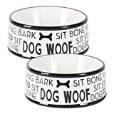 Bone Dry DII Ceramic Medium Pet Bowls for Food & Water, 6.25'' (Dia) x2.5 (H) Set of 2 for Dogs and Cats - Black Dog Text