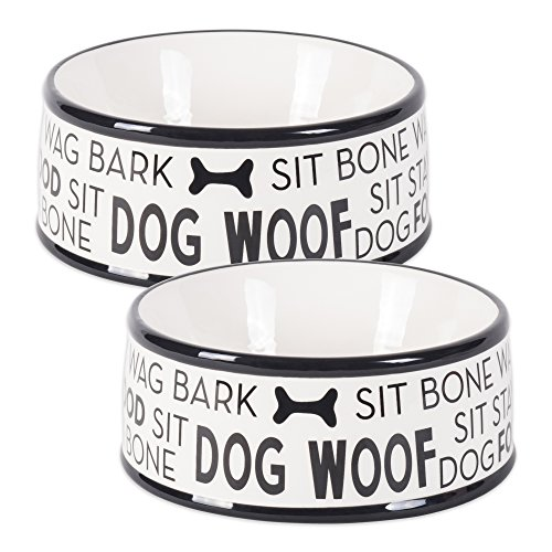 Bone Dry DII Ceramic Medium Pet Bowls for Food & Water, 6.25 (Dia) x2.5 (H) Set of 2 for Dogs and Cats - Black Dog Text