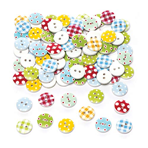Baker Ross Patterned Wooden Buttons (Pack of 100) Embellishments for Kids Arts and Crafts ()