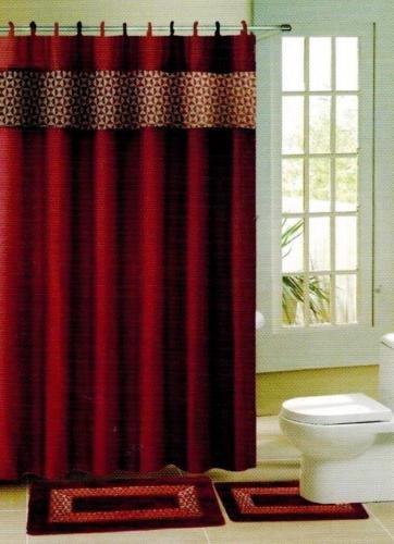 Gorgeous Home 15pc Burgundy Brown Diamond Design Bathroom