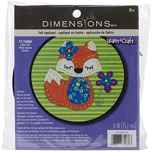 Dimensions Little Red Fox Felt Applique Kit Craft for Beginners, 6'' D