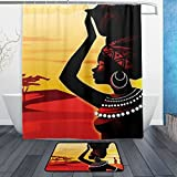 BAIHUISHOP African Women PatternMachine Washable for Everyday Use,Includes 60x72 Inch Waterproof Shower Curtain, 12 Shower Hooks and 1 Non-slip Bathroom Rug Carpet - Set of 3