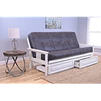 Kodiak Furniture KFMODAWPSELLF5MD4 Monterey Futon Set with Antique White Finish and Storage Drawers, Full, Palance Steel