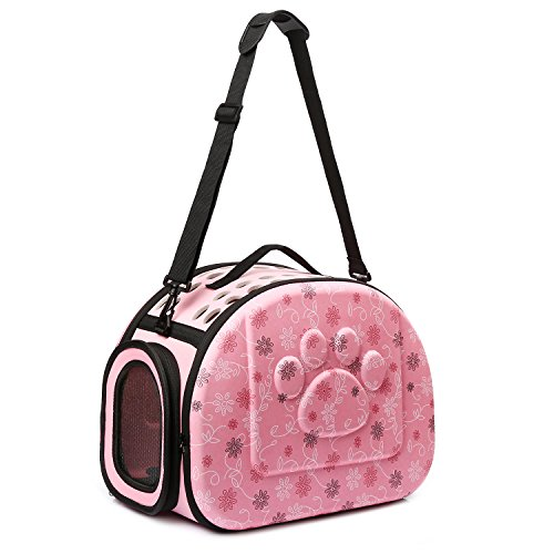 CORALTEA EVA Cute Portable Collapsible for Pets of Medium Size Cats & Dogs Airline Approved  Outdoor Under Seat Travel Pet Carrier Soft Sided Puppy Bag ()