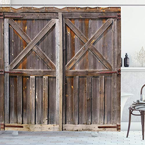 Ambesonne Rustic Shower Curtain, Old Wooden Barn Door of Farmhouse Oak Countryside -