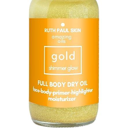 Glowing Body Oil For Women – Moisturizing Shimmer Body Oil Face Oil – Eco Glitter In Natural Oils Blend Of Coconut, Jojoba, Argan, Sweet Almond Essential Oils High In Vitamin C. Large 4oz