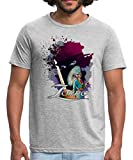 Spreadshirt Zorro Don Diego Avenger and Nobleman Painting Men's Polycotton T-Shirt, L, Heather Grey