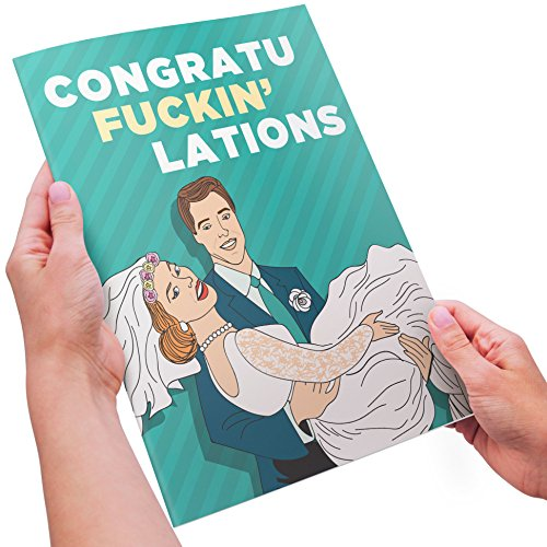 InYourFace Cards Adult Humor Wedding Congratulations - CongratuFckinLations, Shit Just Got Real (Just Married) - XL Size