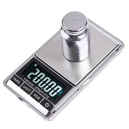 SODIAL(R) Mini Bascula Digital Portatil 200g*0.01g para Joyas Cocina Gramo