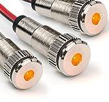 3 Pack of PLUG-N-PLAY Instrument Cluster LED Indicator Light Dash Bulbs. Aluminum Pilot Lights. Color Acrylic Lens. Flush Panel Mount 5/16' 8mm 12V for Speedometer Odometer (Silver Bezel, Amber LED)