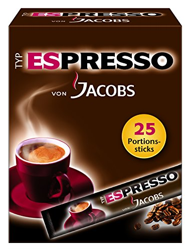 Jacobs Espresso Sticks 25 Portionen / Packung, 4er Pack (4 x 45 g)