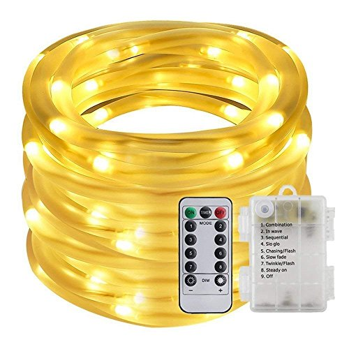 (Remote&Timer Battery Powered Rope Lights,ER CHEN(TM) 33FT 100 LED Warterproof Indoor&Outdoor Portable Rope String Lights for Christmas Tree, Wedding, Thanksgiving, Party, Garden, Patio(Warm White))
