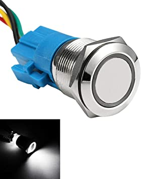 12V 19mm Car Metal Push Button Switch Momentary Angel Eye Waterproof Push button Switch with LED Light