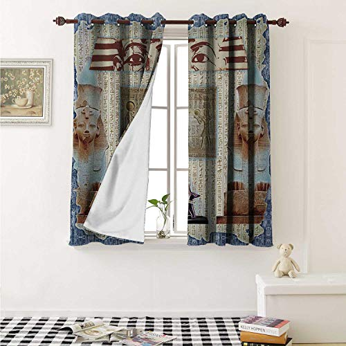 Flyerer Egypt Drapes for Living Room Traditional Hieroglyph Backdrop with Mummy Pyramids and Bastet Collage Art Print Curtains Kitchen Window W96 x L72 Inch Taupe Navy -