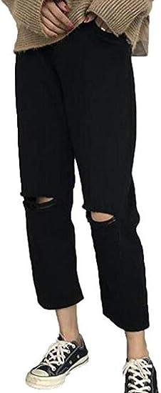 [チューカー] レディース デニム ジーンズ ダメージ スキニーパンツ ゆったり ハイウエスト カジュアル オシャレ おしゃれ 暖かい 通学 無地
