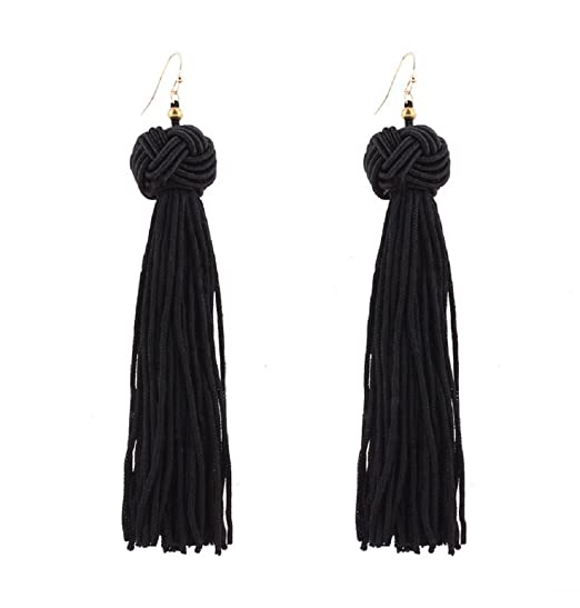 Amazon Com Yuxi Long Tassel Earrings Dangle Ball Fringe Tassel