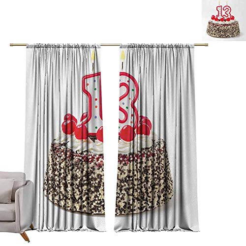 Grommet Top Drapes 13th Birthday,Cake with Numeral Candles and Cherries Yummy Tasty Desert for Party Image,Multicolor W84 x L84 Living Room Drapes