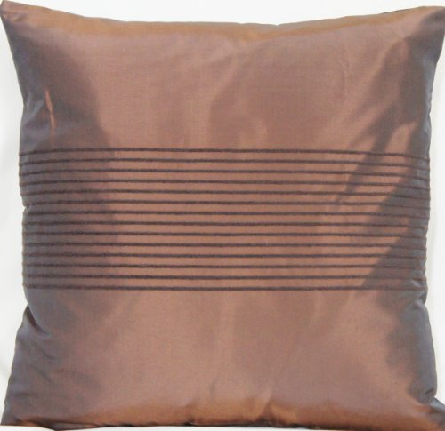 Stripes Cushion Cover Silk Decorative Pillow Throw Case Lorca Fabric Bronze Brown (Fabric Lorca)