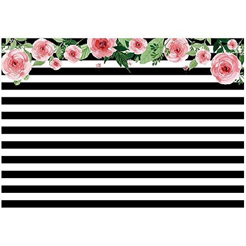 TOOGOO(R) 7x5ft photography backdrops Black and white stripe watercolor pink flower banner Birthday party wedding bridal shower decoration photo studio booth background photocall Style2