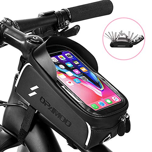 "Bike Phone Front Frame Bag – Waterproof Bicycle Top Tube Cycling Phone Mount Pack with Touch Screen Sun Visor Large Capacity Phone Case for Cellphone Below 6.5"" iPhone 7 8 Plus xs max (Gray)"