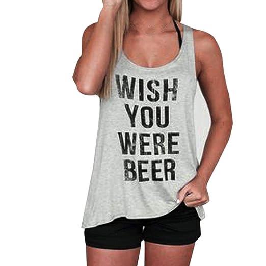 c874be5d28004c Staron Summer Women Letter Print Sleeveless Tank Crop Tops Vest Blouse T- Shirt (S