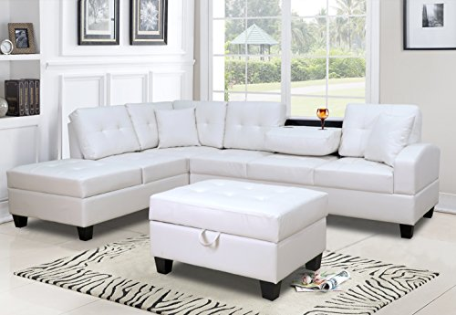GTU Furniture Pu Leather Living Room Sectional Sofa Set in Black/White (WITH OTTOMAN, WHITE) (Down Sectional Sofa)