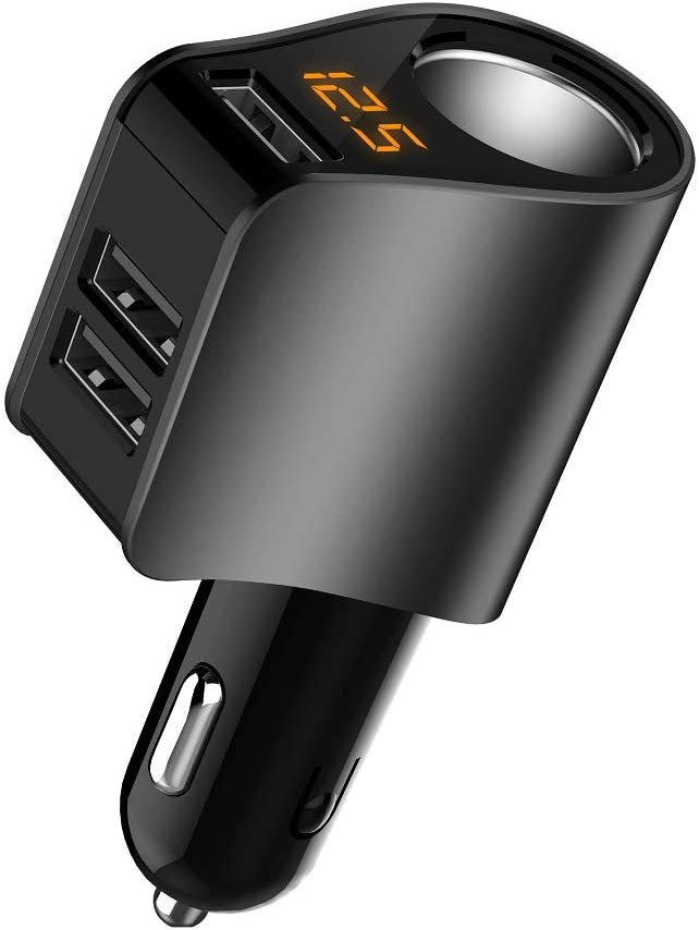 Car Charger Extension Cigarette Lighter Adapter,Socket Splitter with 3 USB and Voltage Meter,Compatible for iPhone 8/7/X/6S/XR,iPad,Samsung Galaxy S9/S8,iPad,GPS,Android Phone (Black)