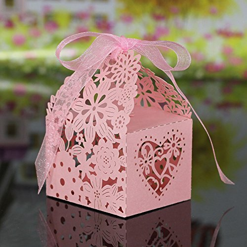 Gigamax(TM) 20pcs Delicate Laser Cut Butterfly Candy Box for Festival Party Candy Gift Box for Wedding Banquet Romantic Wedding Decoration [ Pink - Candy List Sour Of