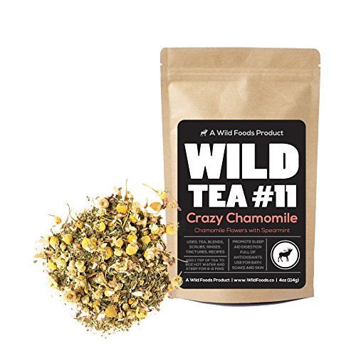 Wild Tea #11 Premium Whole Chamomile Flowers with Spearmint by Wild Foods - Organically Grown Ingredients (4 ounce) (Chamomile Compound)