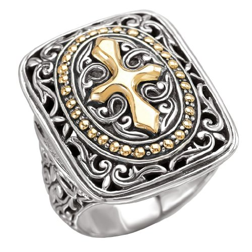 Element Jewelry 925 Silver Rectangular Celtic-Design Cross Ring with 18k Gold Accents- Size 7 ()