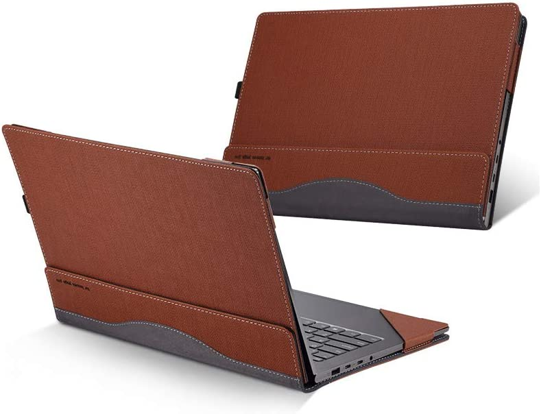 Hp Spectre X360 13.3 Inch Case ( Not Fit HP Spectre Series ), PU Leather Folio Stand Hard Cover for Hp Spectre x360 13.3'' 2 in 1 Laptop Sleeve, Brown