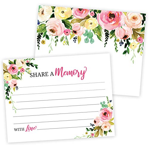 Floral Share A Memory Card Celebration of Life, Funeral Memorial Rememberance Service, Condolence Book, Retirement, Birthday, Bridal Shower, Guestbook Alternative Pack of 40-4 x 6 Cards]()