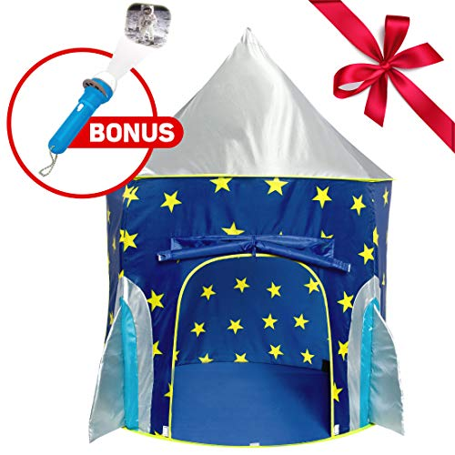 USA Toyz Rocket Ship Play Tent for Boys – Rocket Ship Tent, Astronaut Space Tent for Kids w/ Projector Toy for Indoor Outdoor Kids Pop Up Rocket Tent Fort