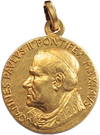 Medalla de Santo Papa Juan Pablo II (Papa Wojtyla) de Plata Maciza 925 - Chapado en Oro: Amazon.es: Joyería