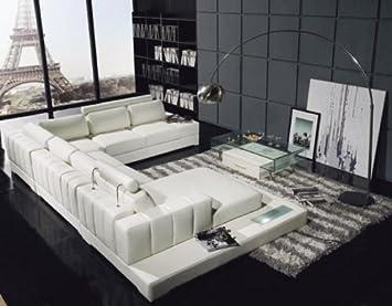 Amazon.com: T63 Seccional sofá de piel blanco: Kitchen & Dining