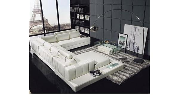 Amazon Com Vig Furniture T63 White Leather Sectional Sofa Kitchen