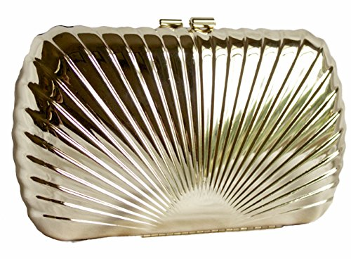 Bag Light Dents Gold Hand Ladies Shell Gold Metal and Womens Gold Pattern Light Clutch XqxHZXr