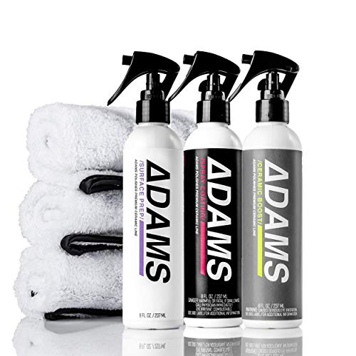 Adam's Ceramic Spray Coating 8 oz Complete Kit - A True Nano Ceramic Protection for Car, Boat & Motorcycle Paint - Top Coat Polish Sealant After Clay Bar, Polishing & Detail Car Wash (Complete Kit)