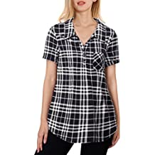 Youtalia Women's Summer Short Sleeve Plaid Blouses Button Down T Shirt Casual Tunics