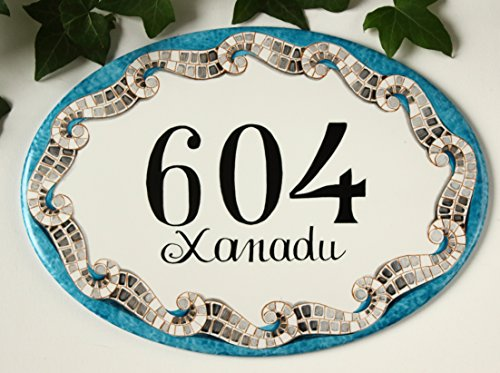 House number Sign, Hand Painted address plaque, Custom Address Number sign, mosaic beach house plaque