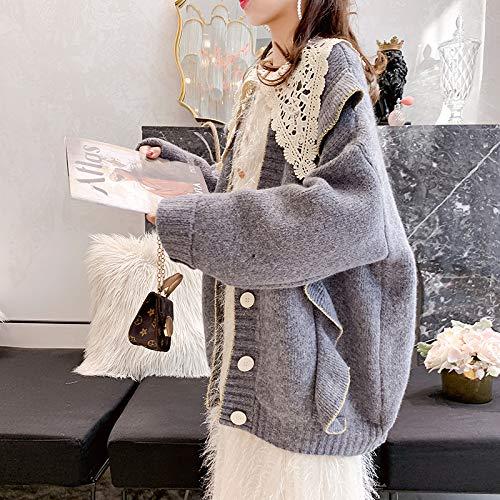 Cardigan Sciolto Volant red Top Nuovo Donna Maglieria Pullover Inverno Gzz Maglia Leggero Grey Stile Maglione Autunno 6zw8q0
